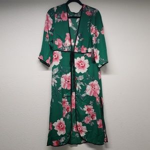 Bardia Green Floral Print Swim Cover-Up